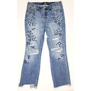 Hollister high rise vintage straight ripped jeans